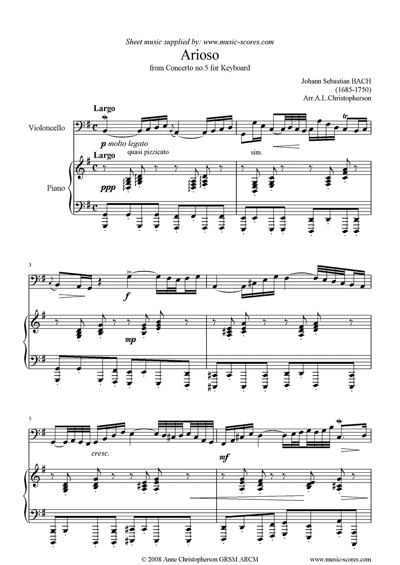 Front page of Cantata 156, 5th Concerto: Arioso: Cello sheet music