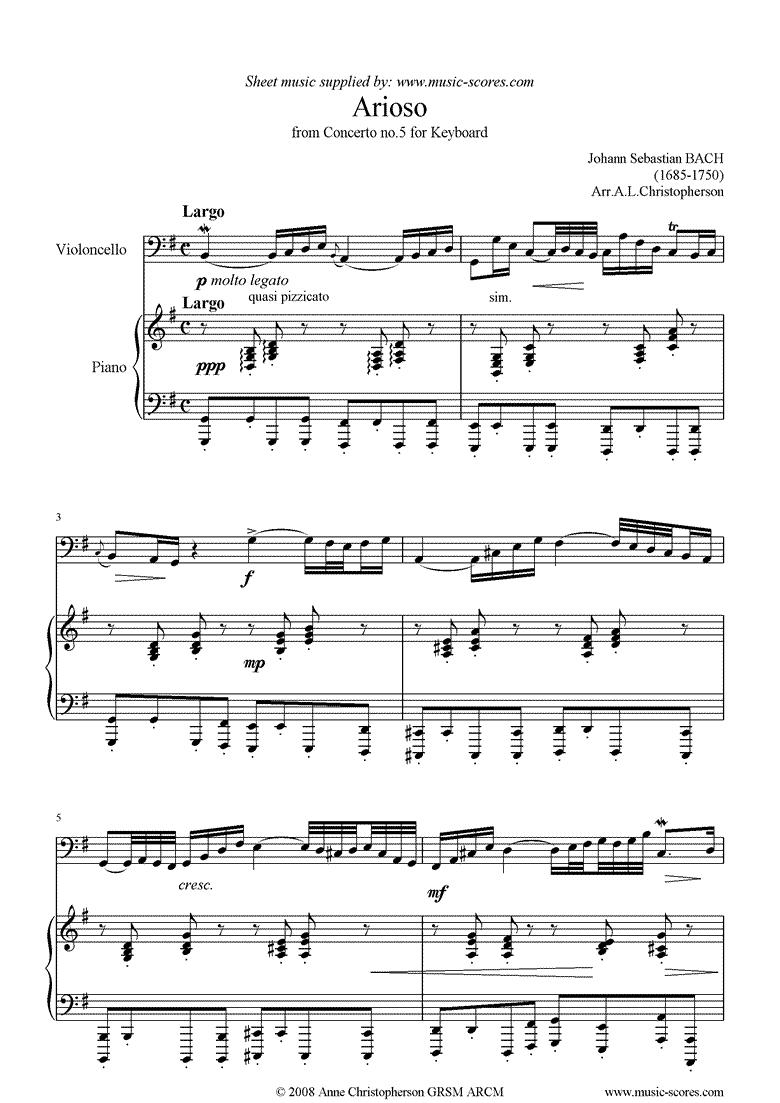 Cantata 156, 5th Concerto: Arioso: Cello by Bach