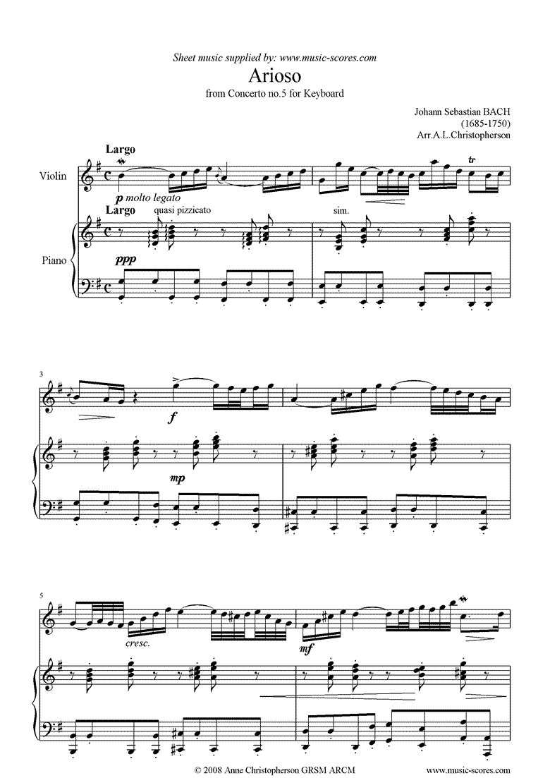 Front page of Cantata 156, 5th Concerto: Arioso: Violin sheet music