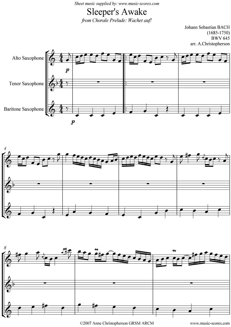 bwv 645 Sleepers Awake Sax Trio: Alto, Tenor, Bari by Bach