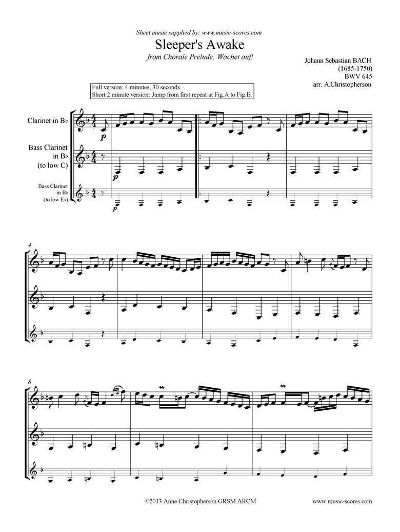 bwv 645 Sleepers Awake: Clarinet, Bass Clarinet by Bach