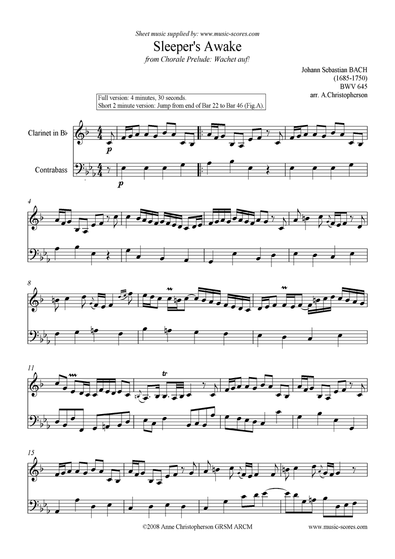 Front page of bwv 645 Sleepers Awake: Clarinet, Double Bass sheet music