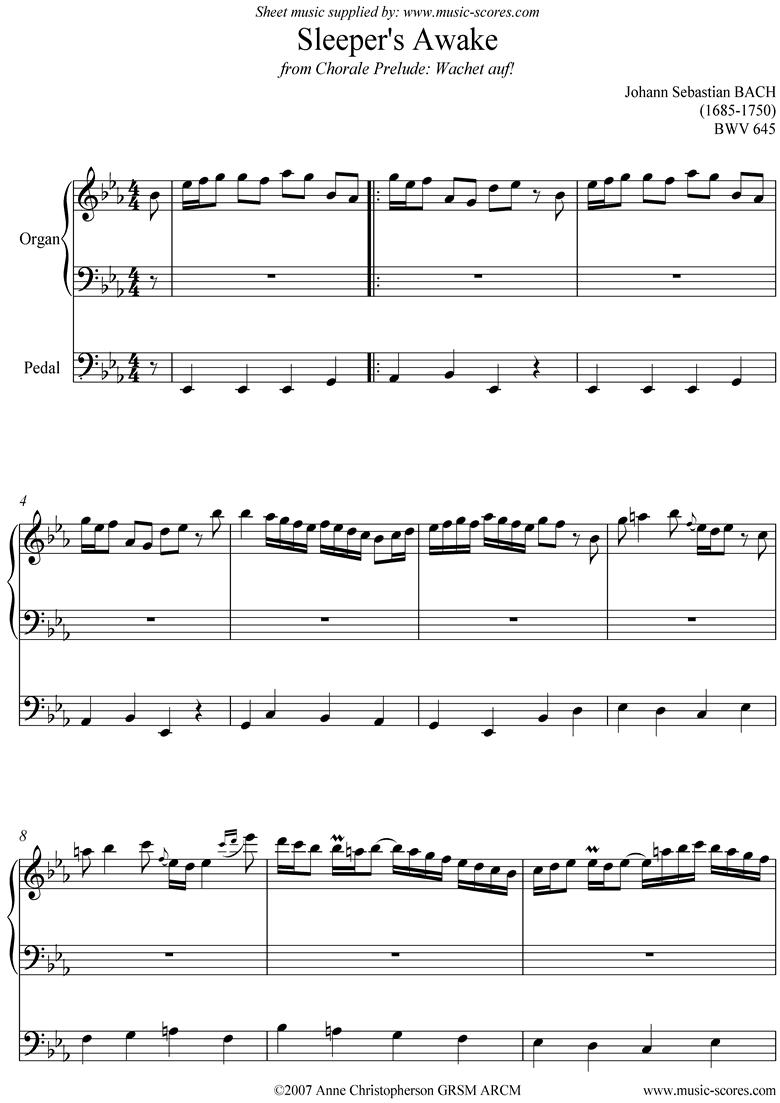 bwv 645 Sleepers Awake: Organ by Bach