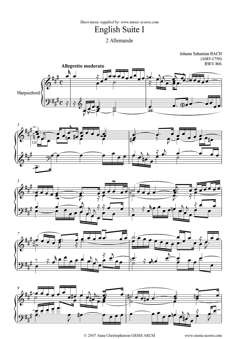 Front page of bwv 806: English Suite No. 1: 2 Allemande sheet music