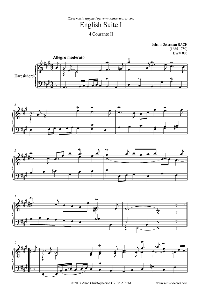 Front page of bwv 806: English Suite No. 1: 4 Courante 2 sheet music