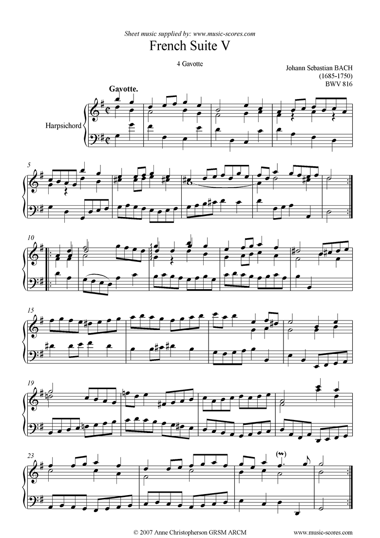 Front page of bwv 816: French Suite No. 5: 4 Gavotte sheet music