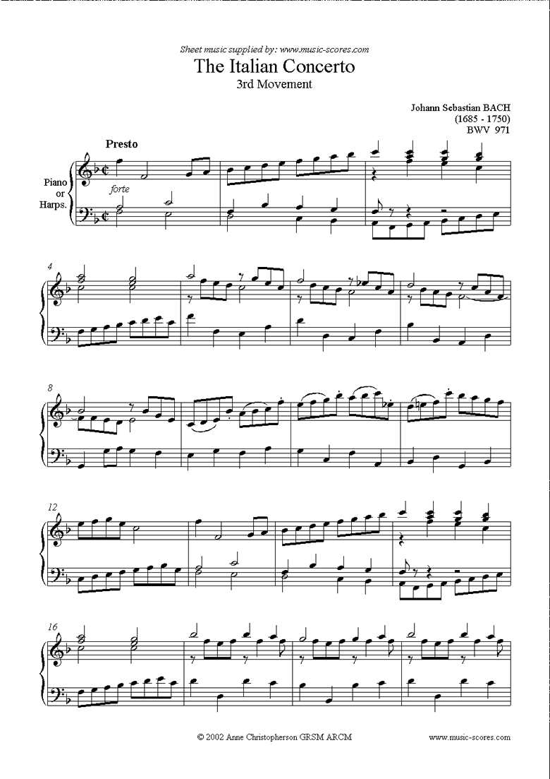 Front page of bwv 971: Italian Concerto, 3rd Movement sheet music