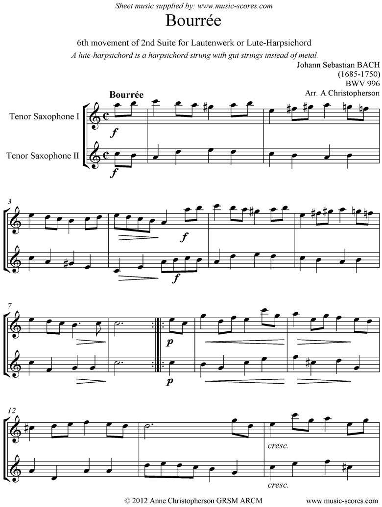 Front page of bwv 996: 2nd Lautenwerk Suite, 6th Movement, Tenor Sax Duet sheet music