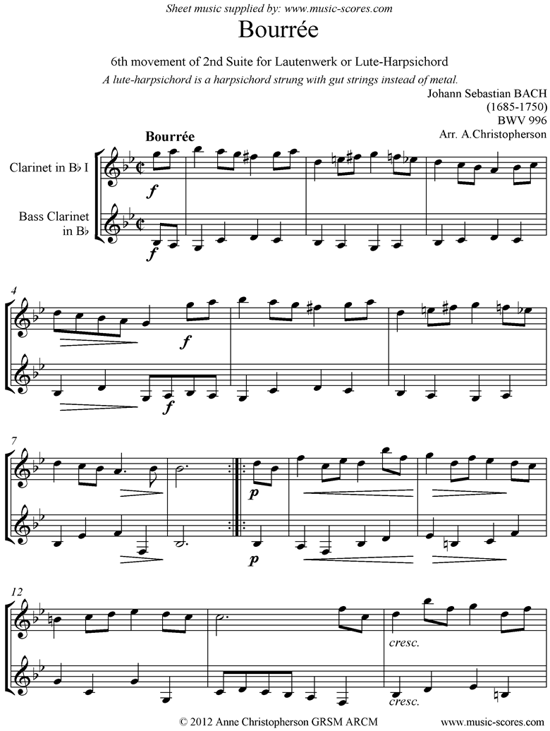 Front page of bwv 996: 2nd Lautenwerk Suite, 6th Movement, Clarinet, Bass Clarinet sheet music