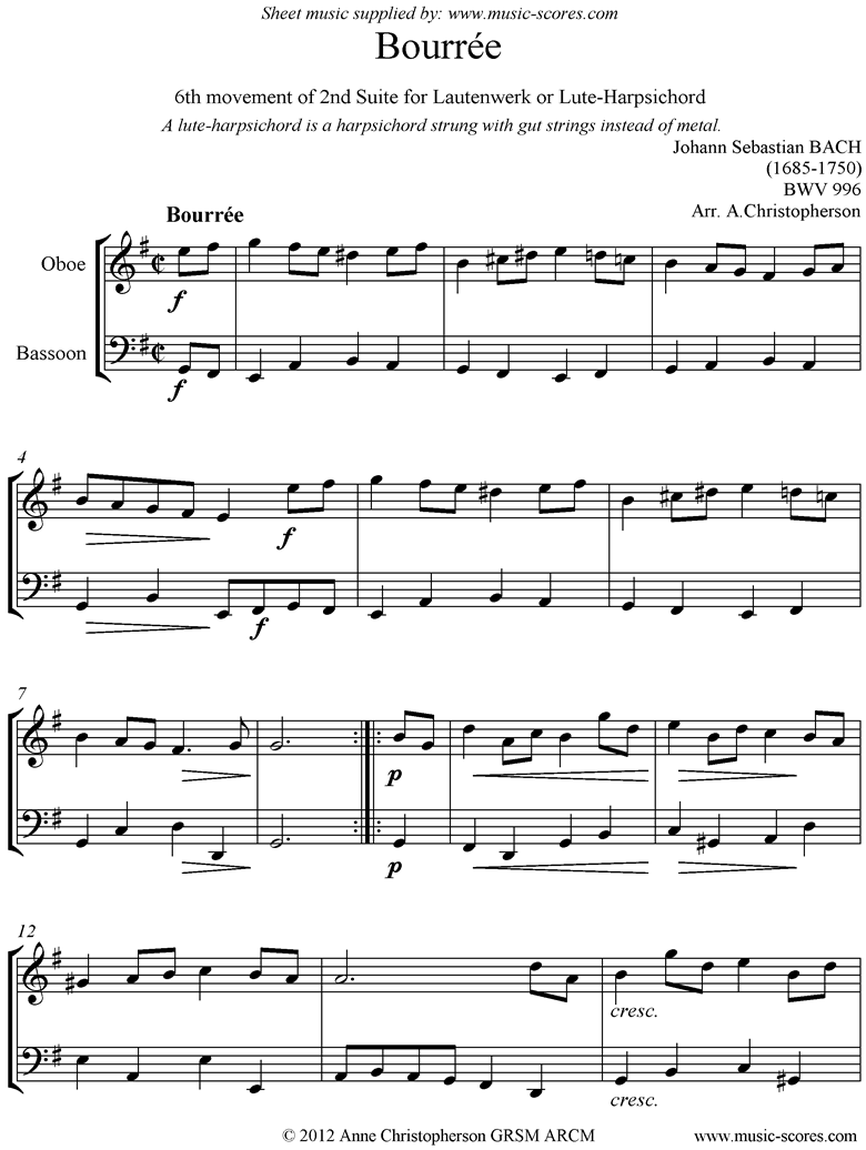 Front page of bwv 996: 2nd Lautenwerk Suite, 6th Movement, Oboe, Bassoon sheet music
