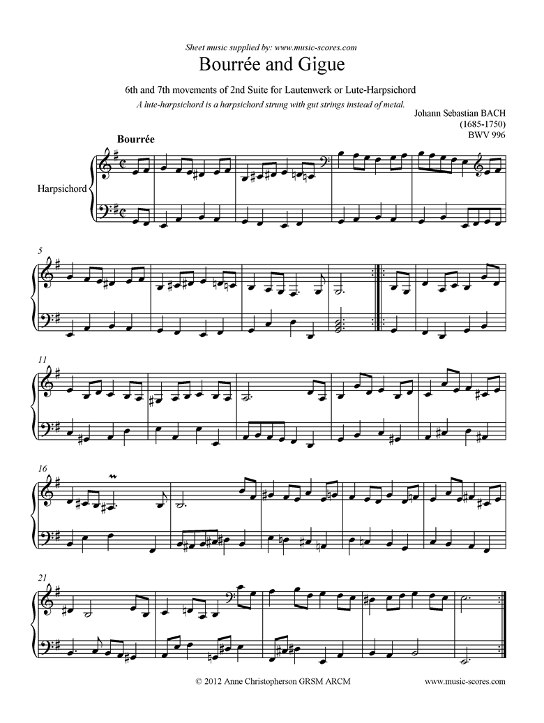 Front page of bwv 996: 2nd Lautenwerk Suite, 6th and 7th Movements sheet music