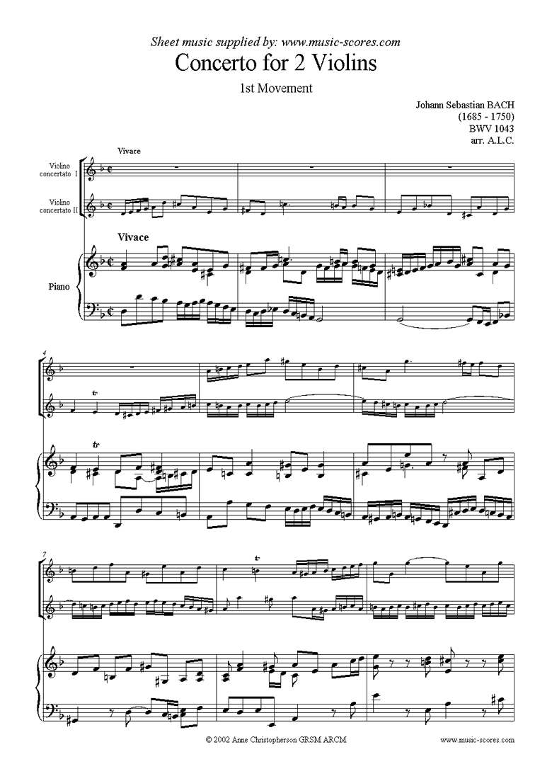 Front page of bwv 1043: Double Concerto, 2 vns: 1st movement sheet music