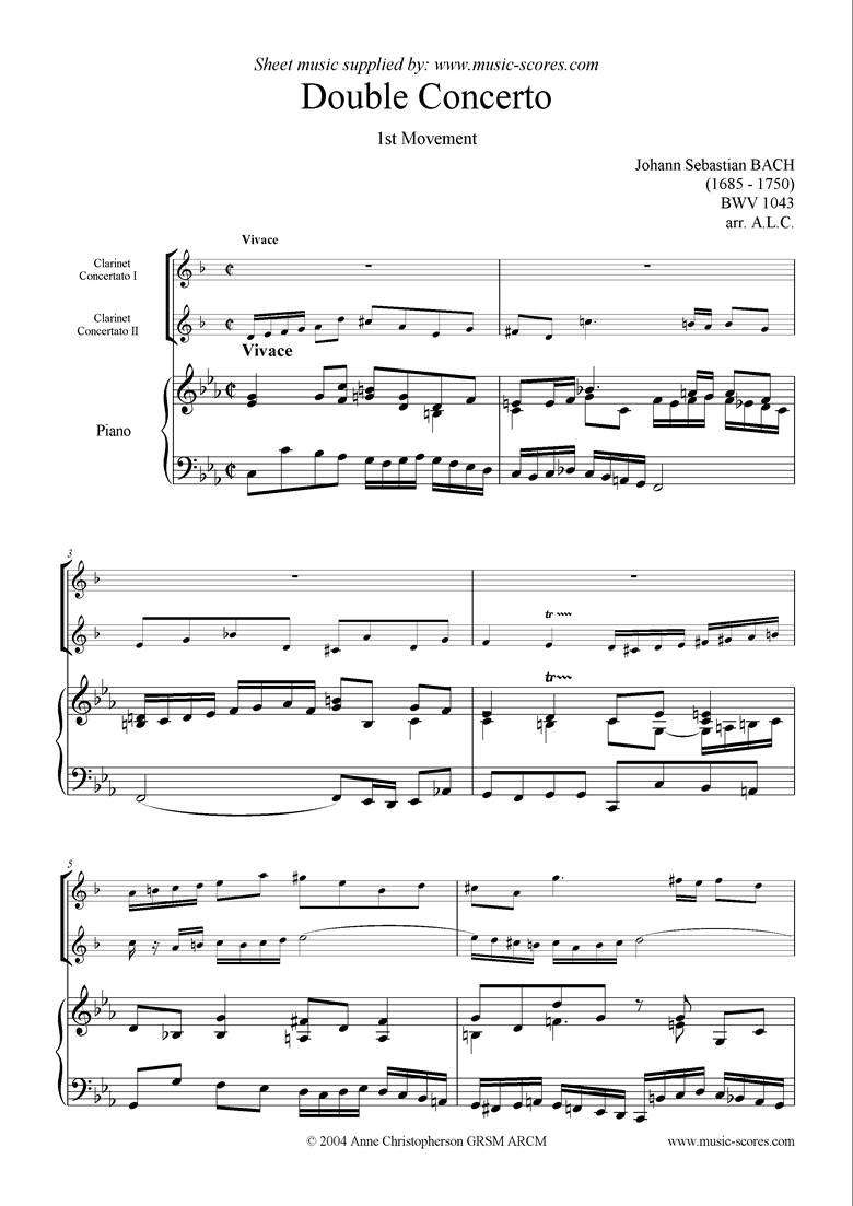bwv 1043: Double Concerto, 2 cls lower: 1st mvt by Bach