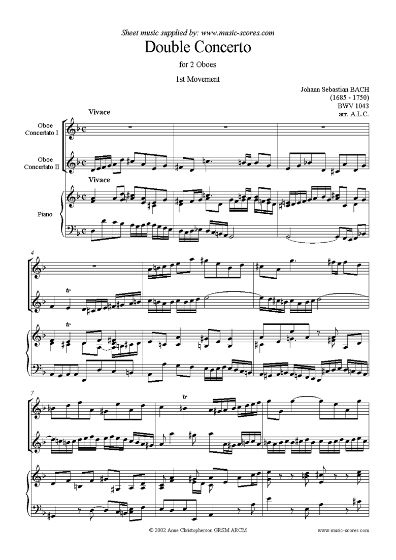 Front page of bwv 1043: Double Concerto, 2 obs: 1st movement sheet music