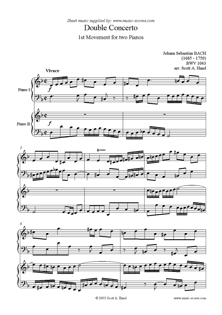 Front page of bwv 1043: Double  Concerto, 1st movement: Piano Duo sheet music