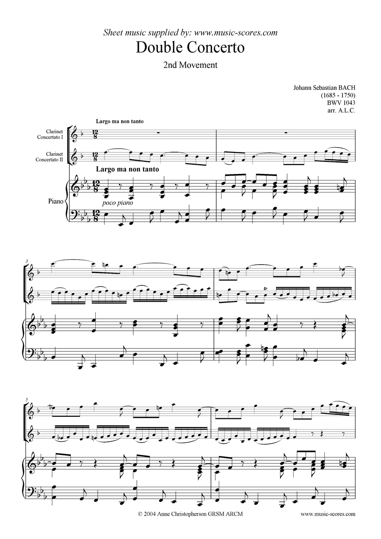 Front page of bwv 1043: Double Concerto, 2 cls lower: 2nd mvt sheet music
