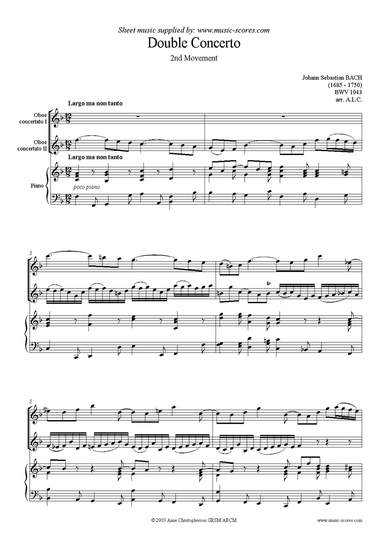 Front page of bwv 1043: Double Concerto, 2 obs: 2nd movement sheet music