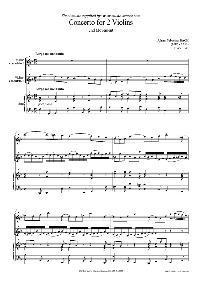 Front page of bwv 1043: Double Concerto, 2 vns: 2nd movement sheet music
