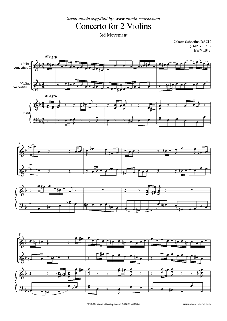 Front page of bwv 1043: Double Violin Concerto, 3rd movement sheet music