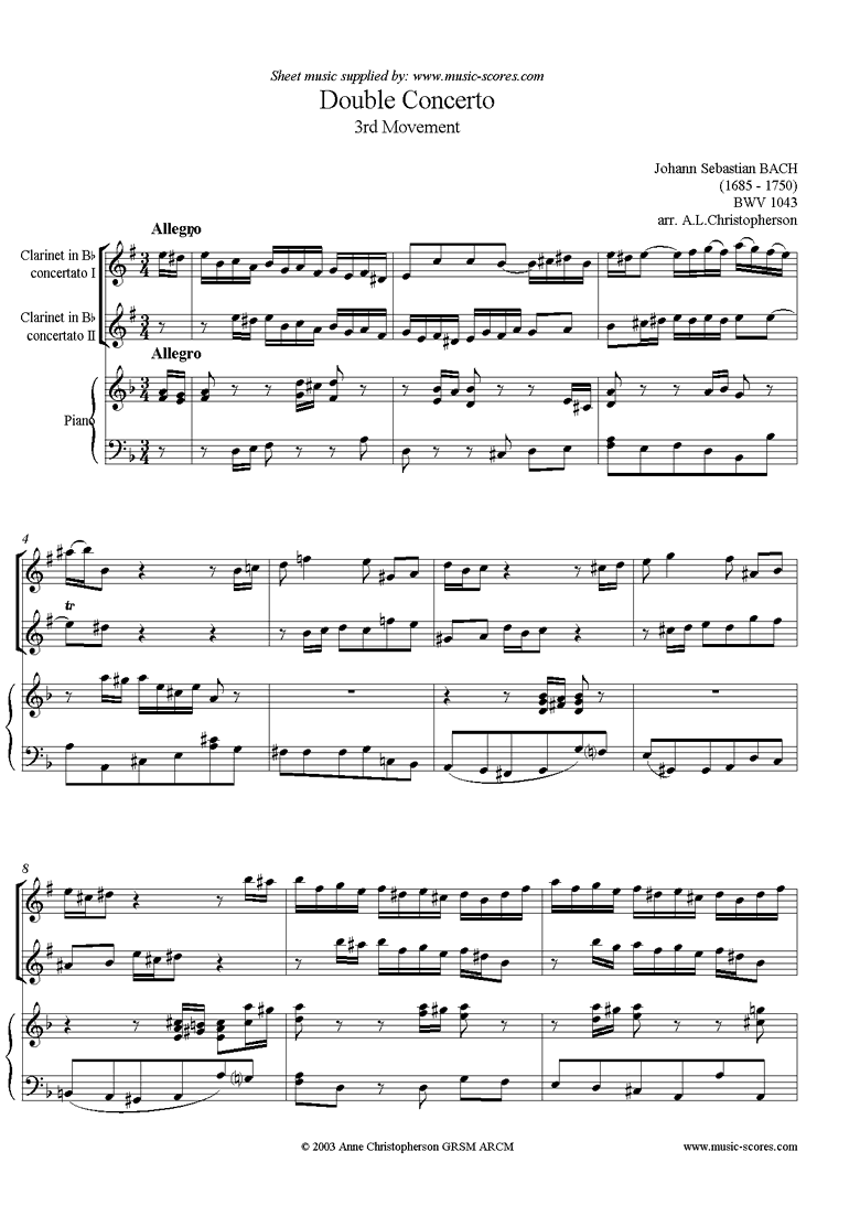 Front page of bwv 1043: Double Concerto, 2 cls: 3rd movement sheet music