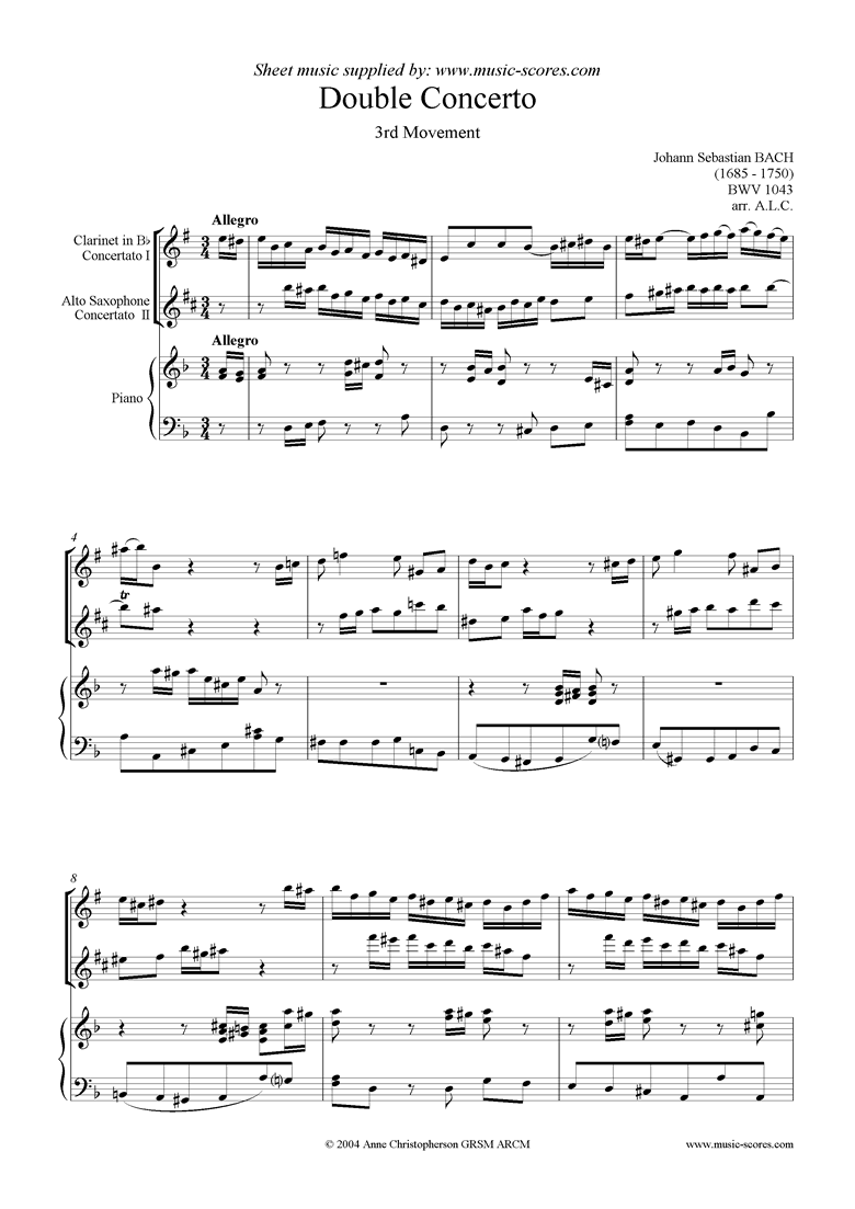 Front page of bwv 1043: Double Concerto, cl asx: 3rd movement sheet music