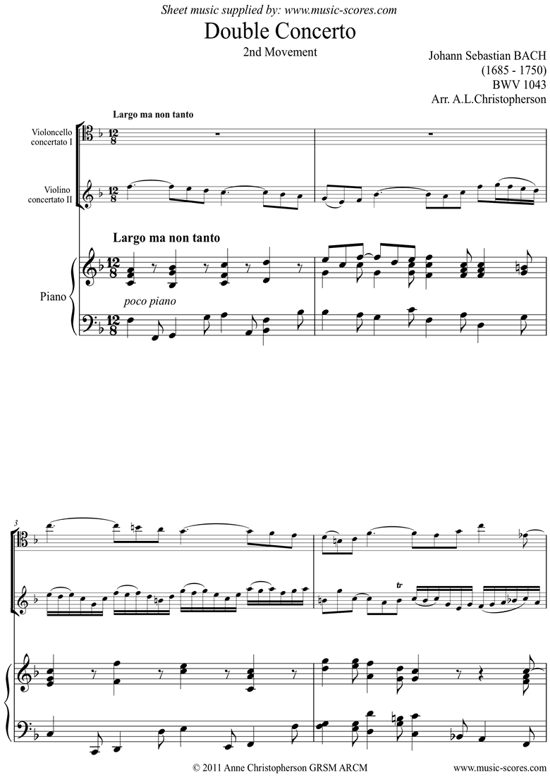 Front page of bwv 1043: Double Concerto, Vc, Vn: 2nd movement sheet music