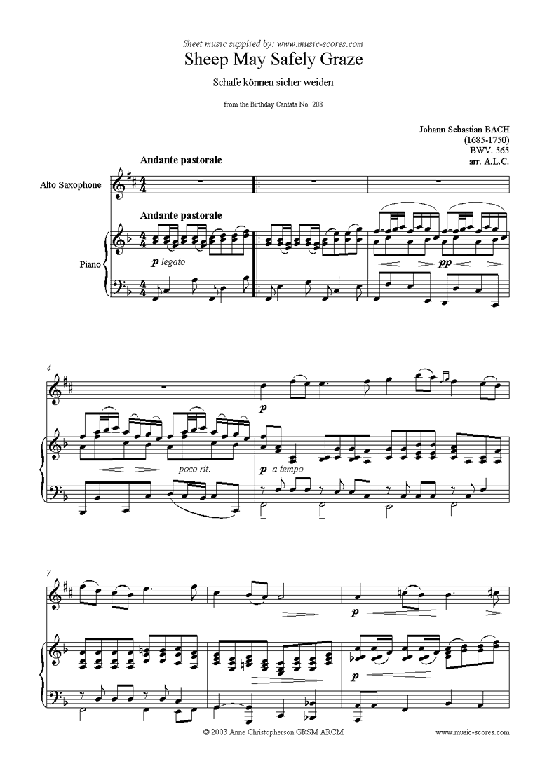 Front page of Sheep May Safely Graze: Birthday Cantata 208: Alto Sax sheet music