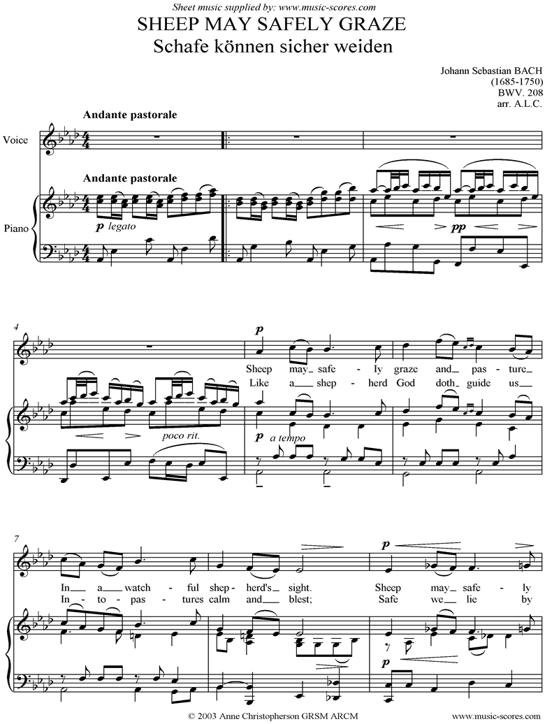 Front page of Sheep May Safely Graze: Birthday Cantata 208 Voice sheet music