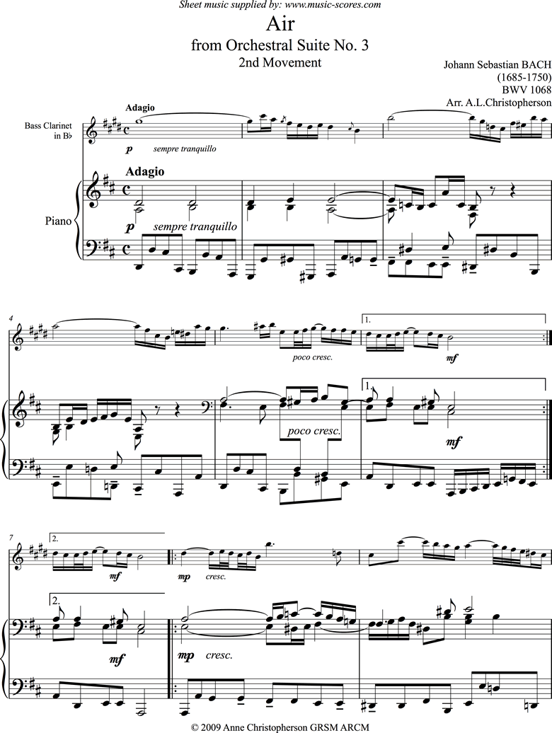bwv 1068: Air on G:Bass Clarinet and Piano. by Bach