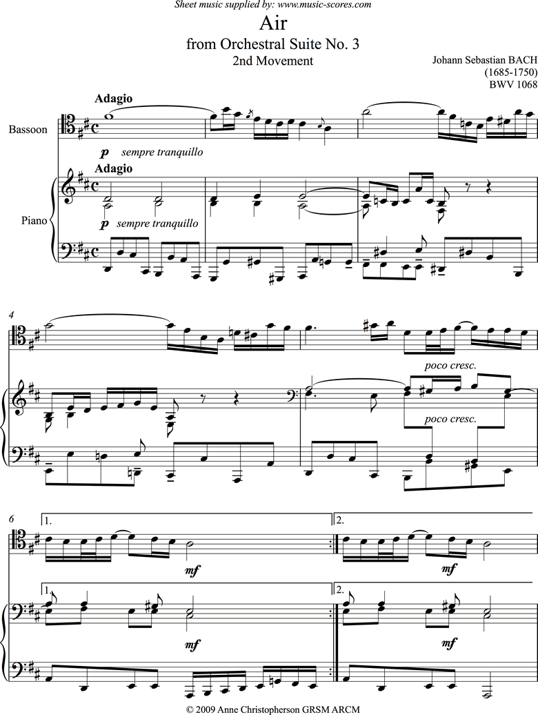 bwv 1068: Air on G:Bassoon and Piano. by Bach