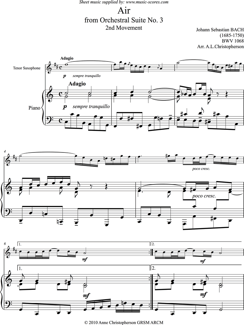 Front page of bwv 1068: Air on G: Tenor Sax and Piano: C ma sheet music