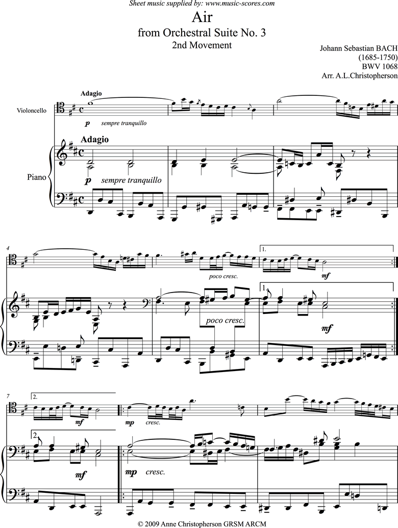 Front page of bwv 1068: Air on G: Cello and Piano. sheet music