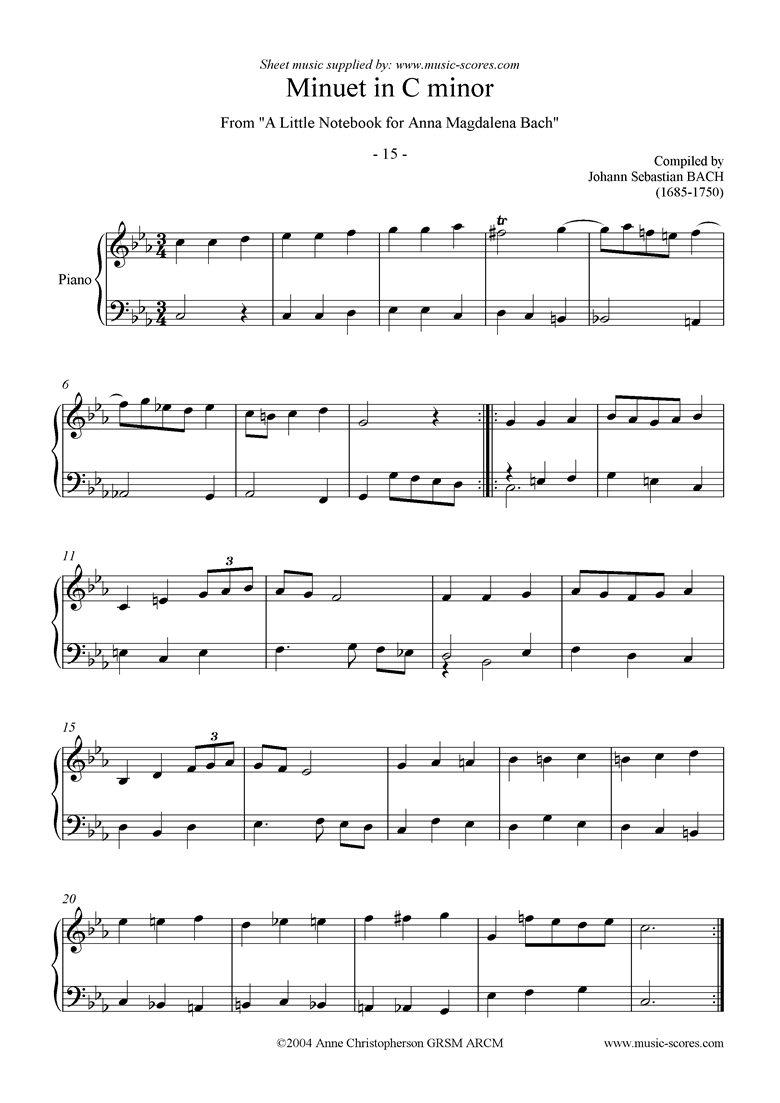 Front page of Anna Magdalena: No. 15: Minuet in C minor sheet music