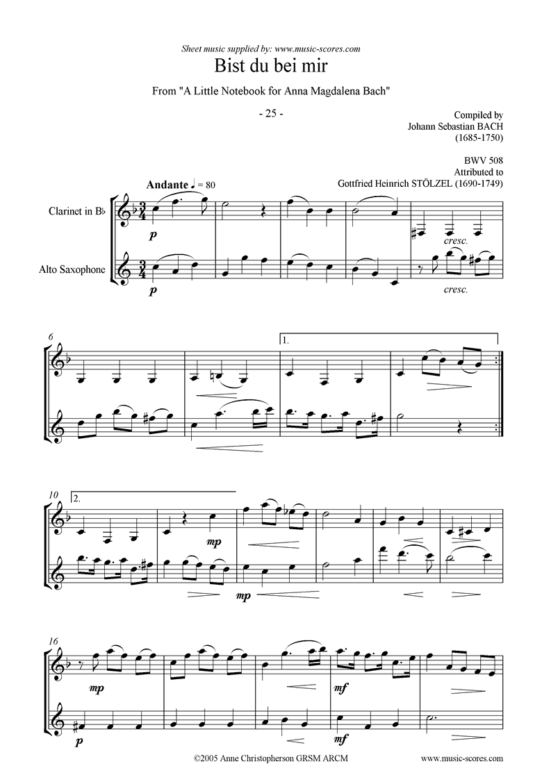 Front page of Anna Magdalena: No. 25: Bist du bei mir: wind duo sheet music