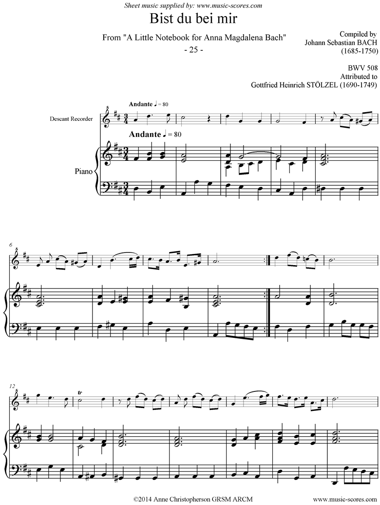 Front page of Anna Magdalena: No. 25: Bist du bei mir: Descant Recorder, Piano sheet music