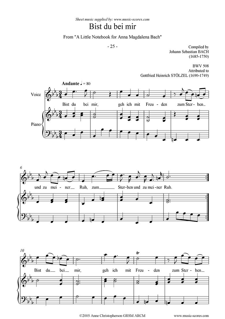 Anna Magdalena: No. 25: Bist du bei mir: voice by Bach