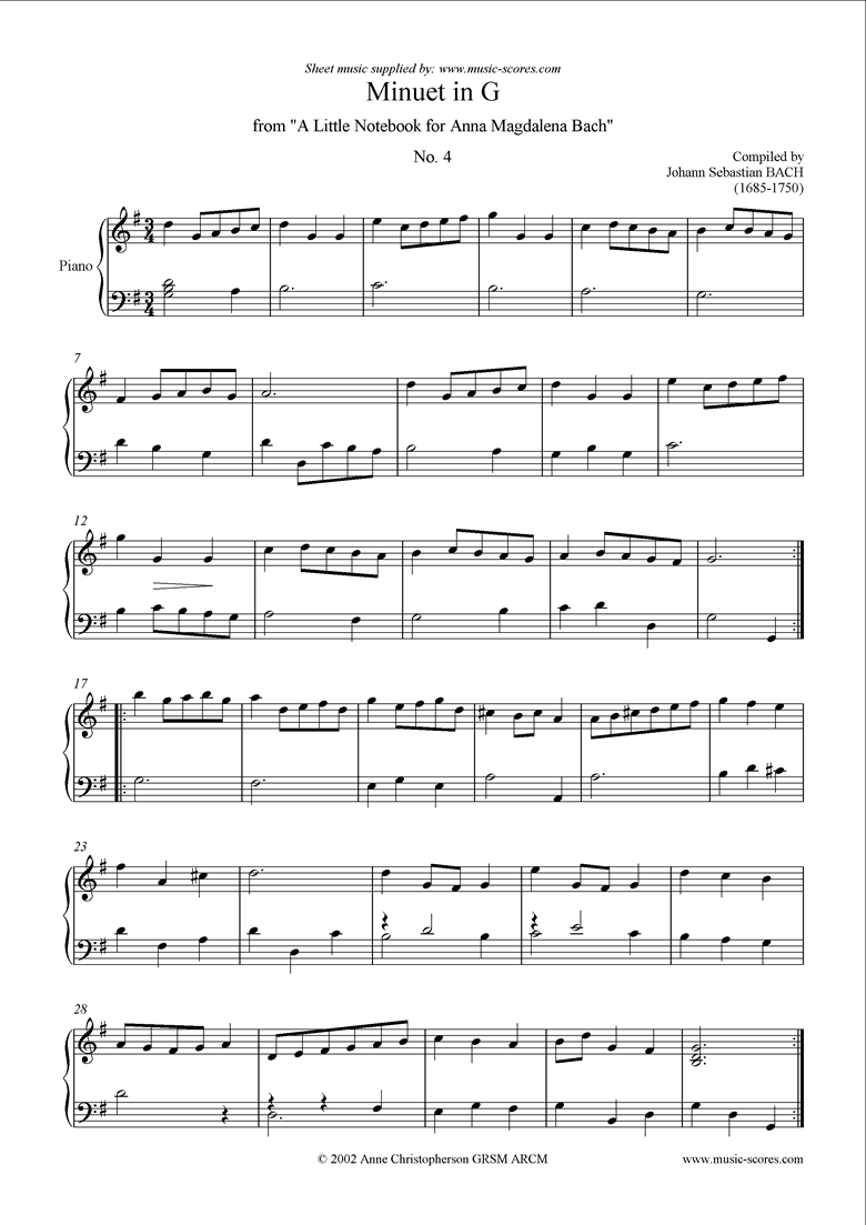 Front page of Anna Magdalena: No. 04: Minuet in G sheet music