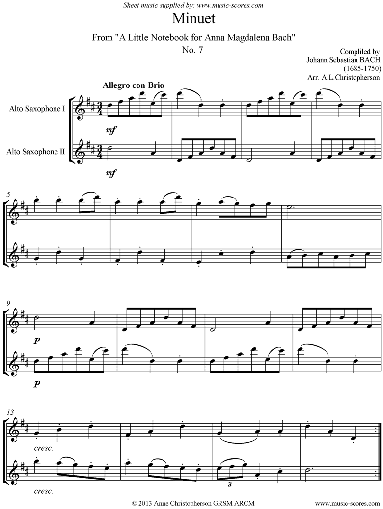 Front page of Anna Magdalena: No. 07: Minuet: 2 Alto Saxes sheet music
