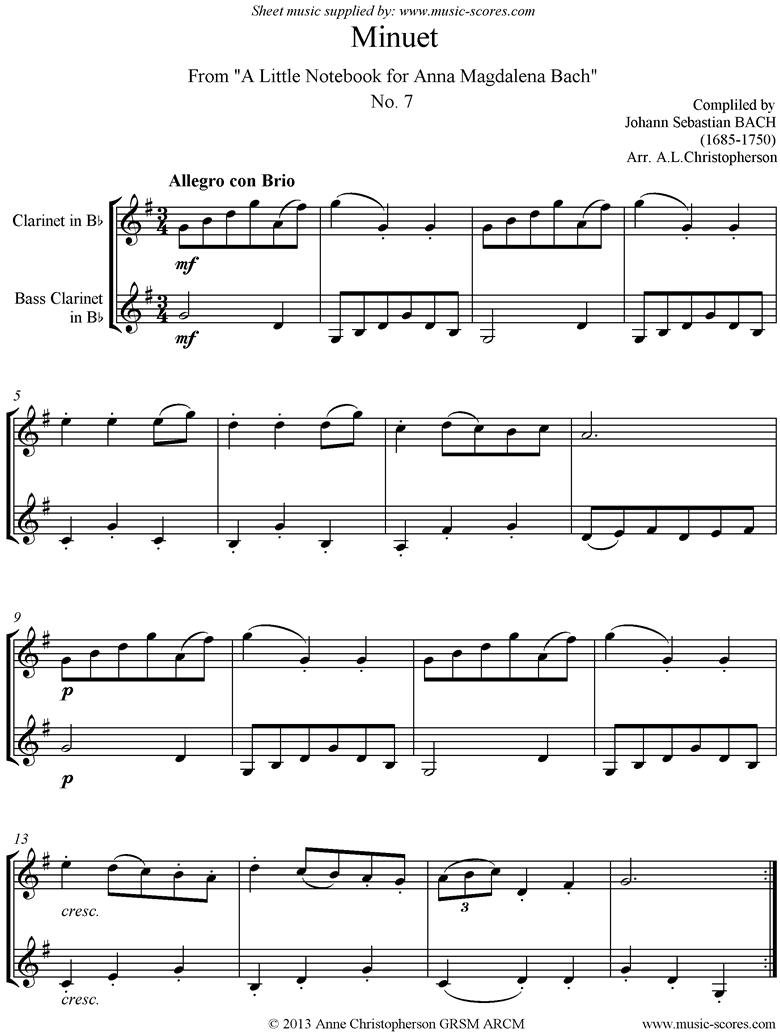 Front page of Anna Magdalena: No. 07: Minuet: Clarinet, Bass Clarinet sheet music
