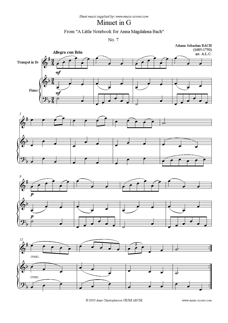 Front page of Anna Magdalena: No. 07: Minuet: Trumpet sheet music