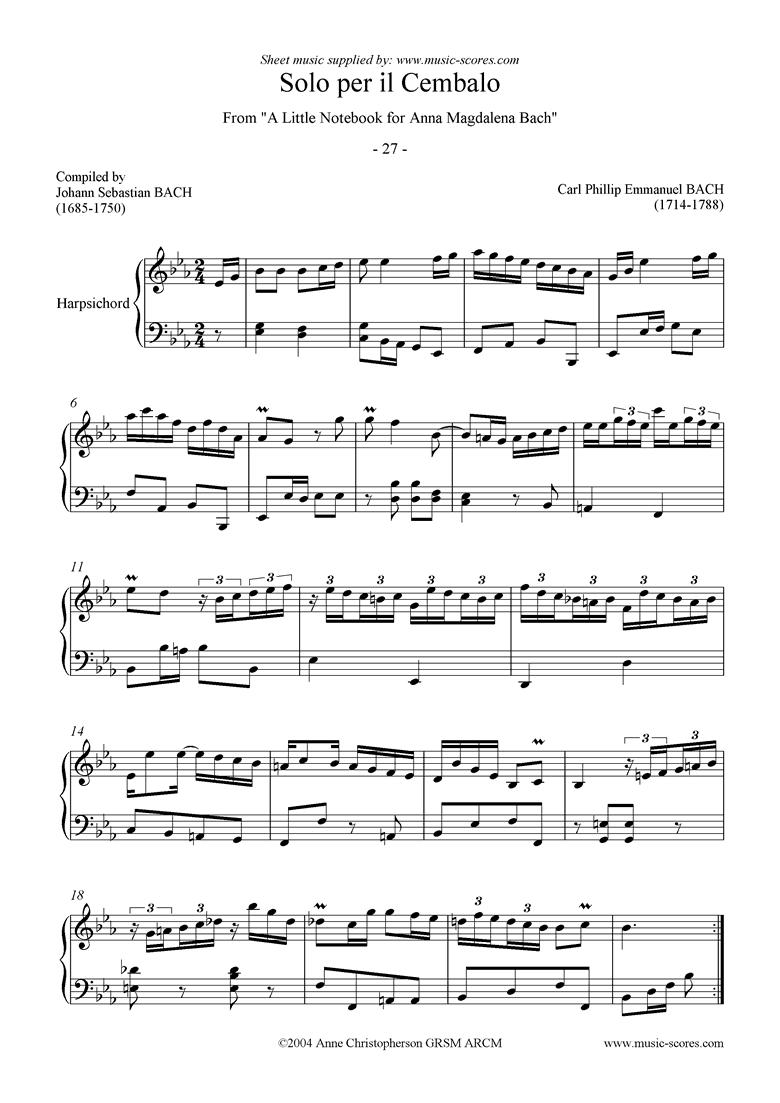 Anna Magdalena: No 27: Solo per Il Cembalo by Bach-CPE
