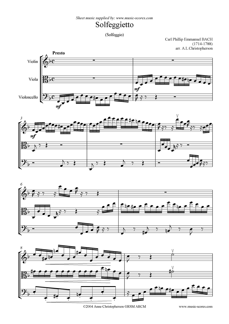 Front page of Solfeggietto: string trio sheet music