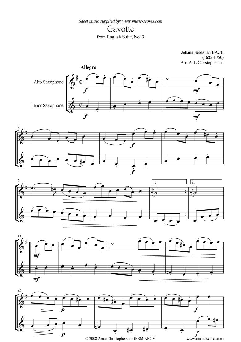 English Suite No. 3: Gavotte: Alto and Tenor Sax by Bach
