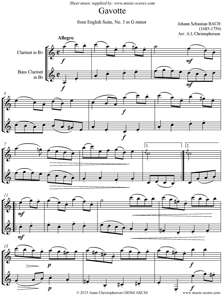 Front page of English Suite No. 3: Gavotte: Clarinet, Bass Clarinet sheet music