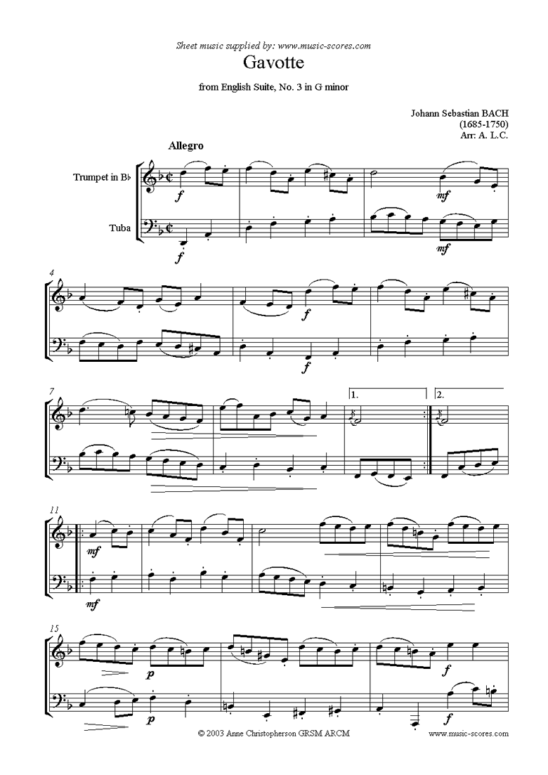 English Suite No. 3: Gavotte: Trumpet, Tuba by Bach