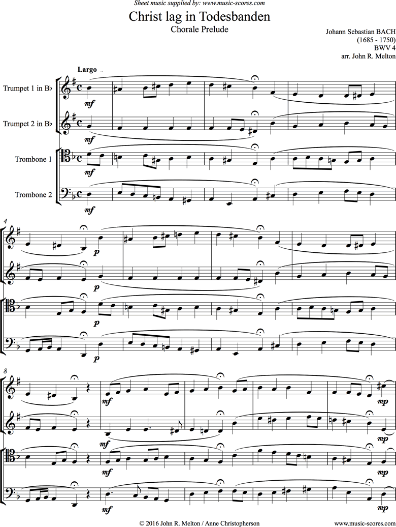 Front page of BWV 625: Christ lag in Todesbanden: Brass Quartet sheet music