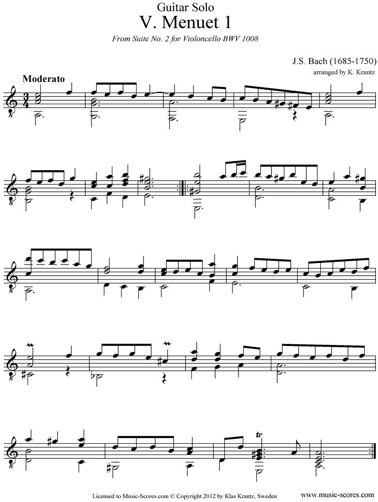 bwv 1008 cello suite no.2 5th mvt 2 minuets guitar sheet music by johann  sebastian bach  music-scores.com