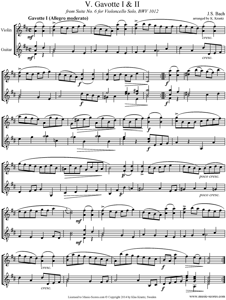 Front page of bwv 1012 Cello Suite No.6: 5th, 6th  mvts: Gavottes: Violin, Guitar sheet music