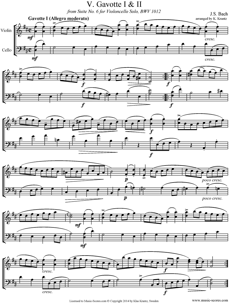 Front page of bwv 1012 Cello Suite No.6: 5th, 6th  mvts: Gavottes: Violin, Cello sheet music