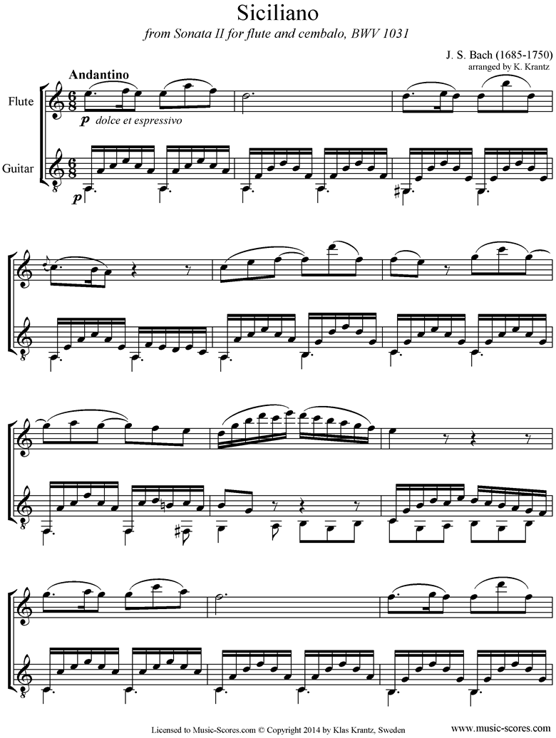 Front page of BWV 1031: Sonata No.2: Siciliano: Flute, Guitar sheet music